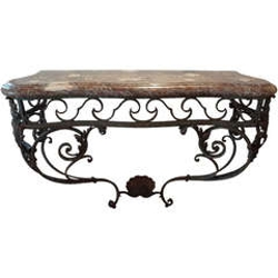 19th century french regence wrought iron console table with marble top